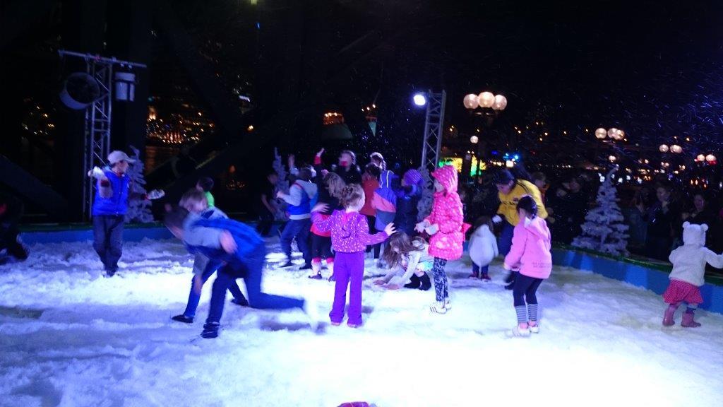 Kids snow pit fun