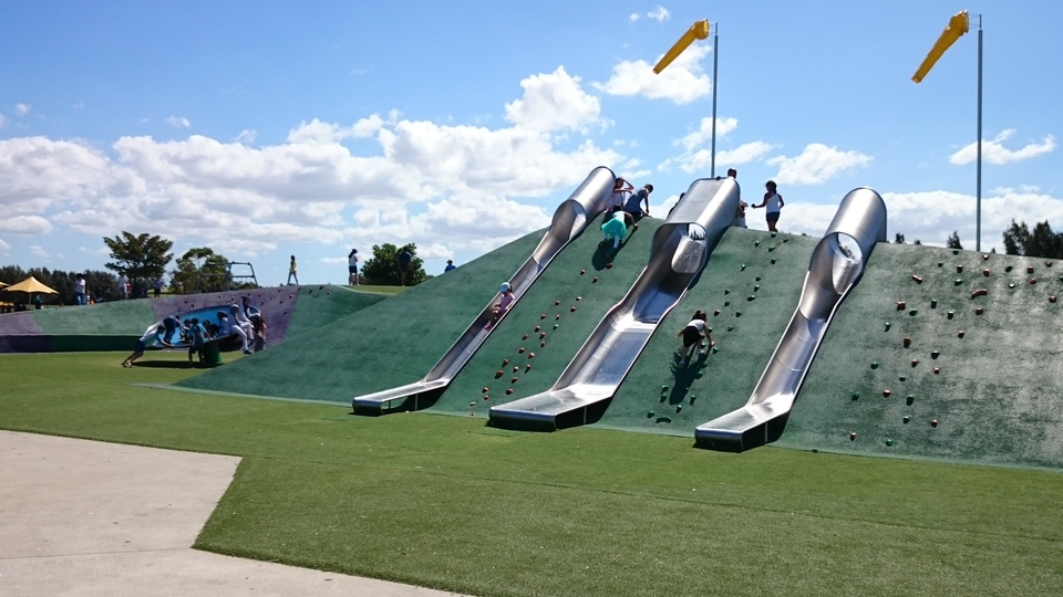 The kids love these long metal slides