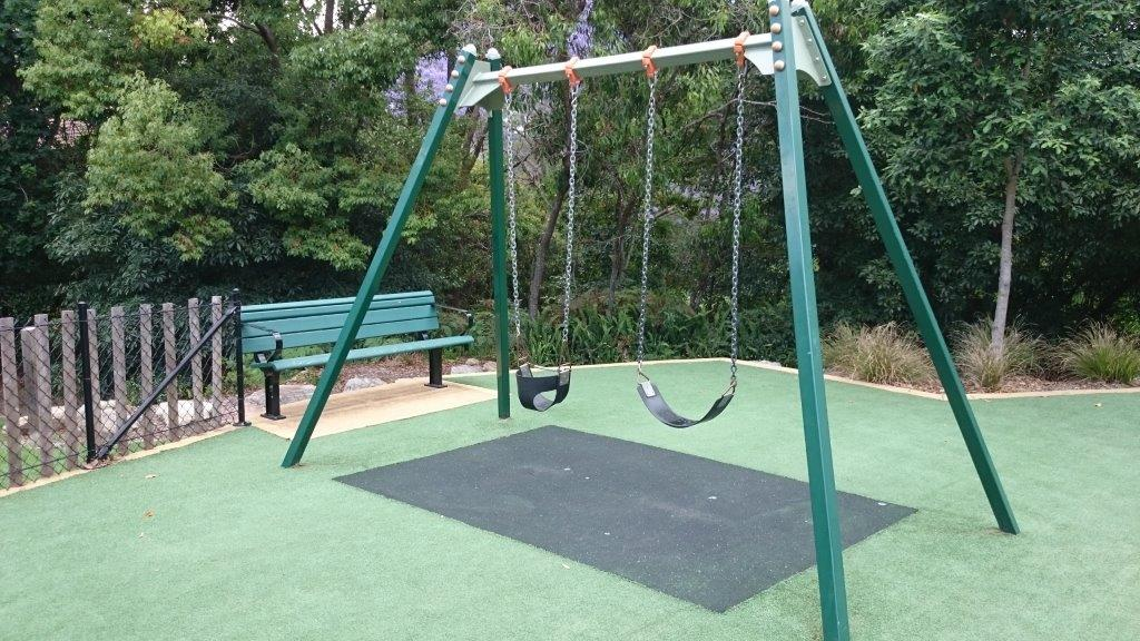 Swing set includes a toddler swing
