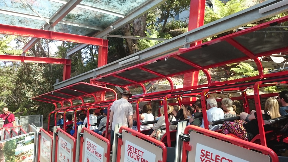 Boarding the Scenic Railway at Scenic World