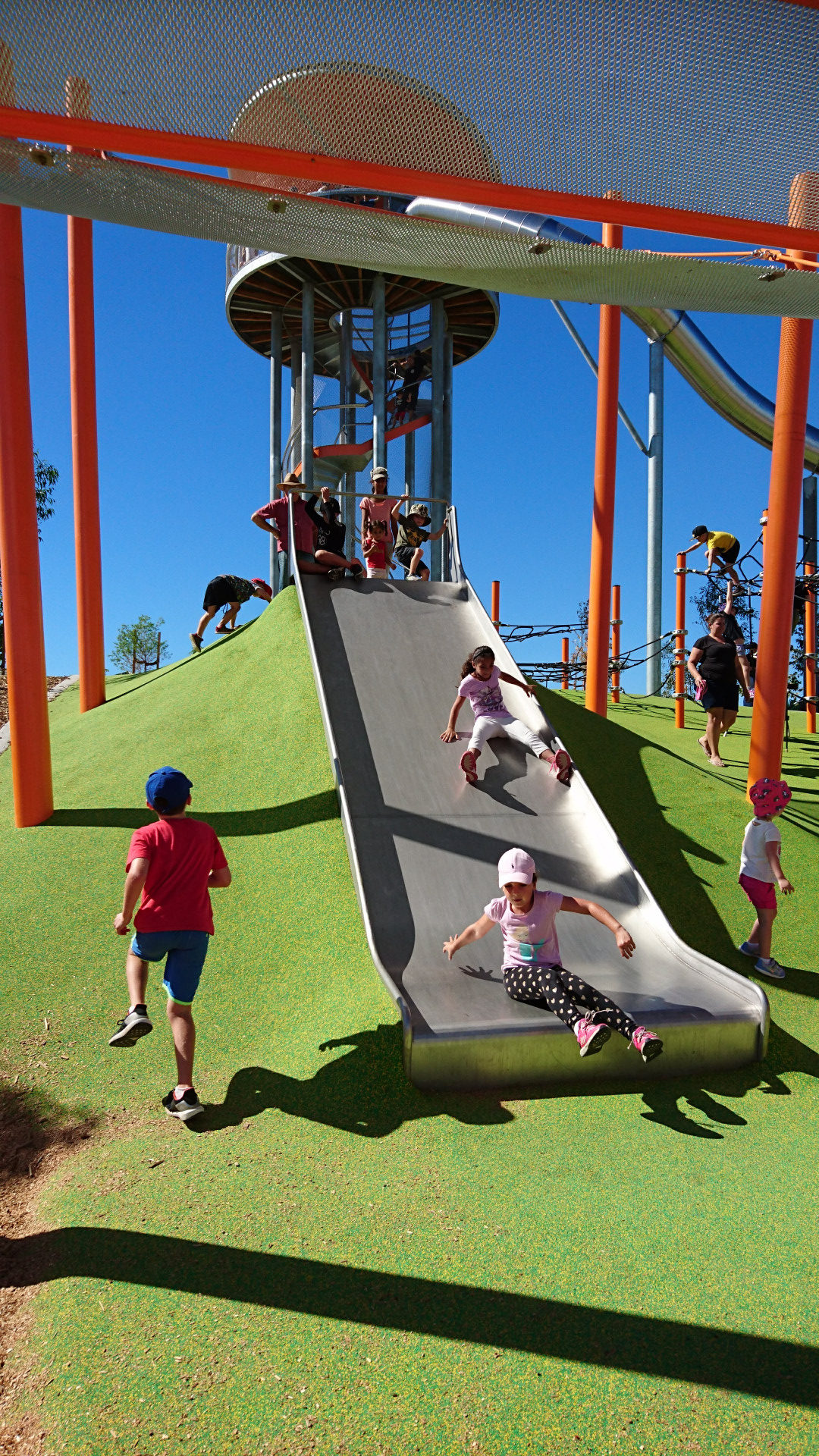 slide inbuilt into the embankment great for the younger kids