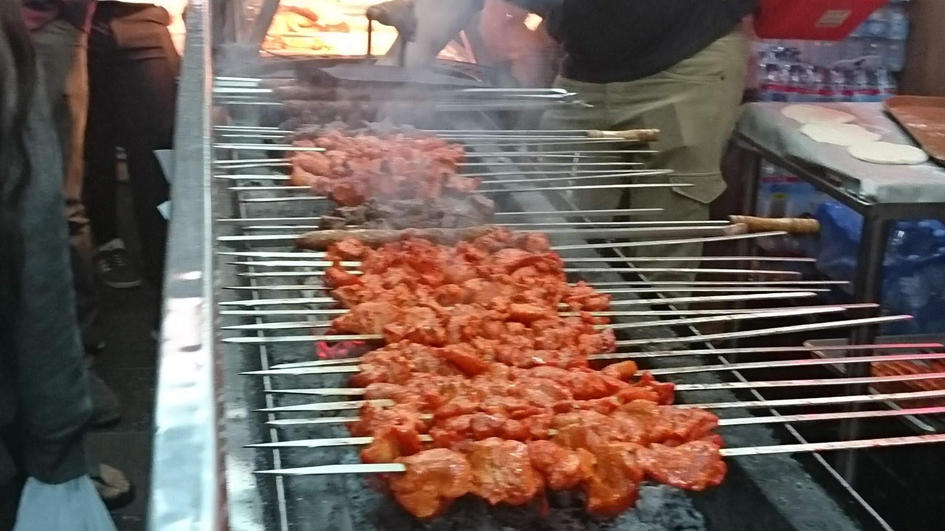 Lamb and tandoori chicken kebabs