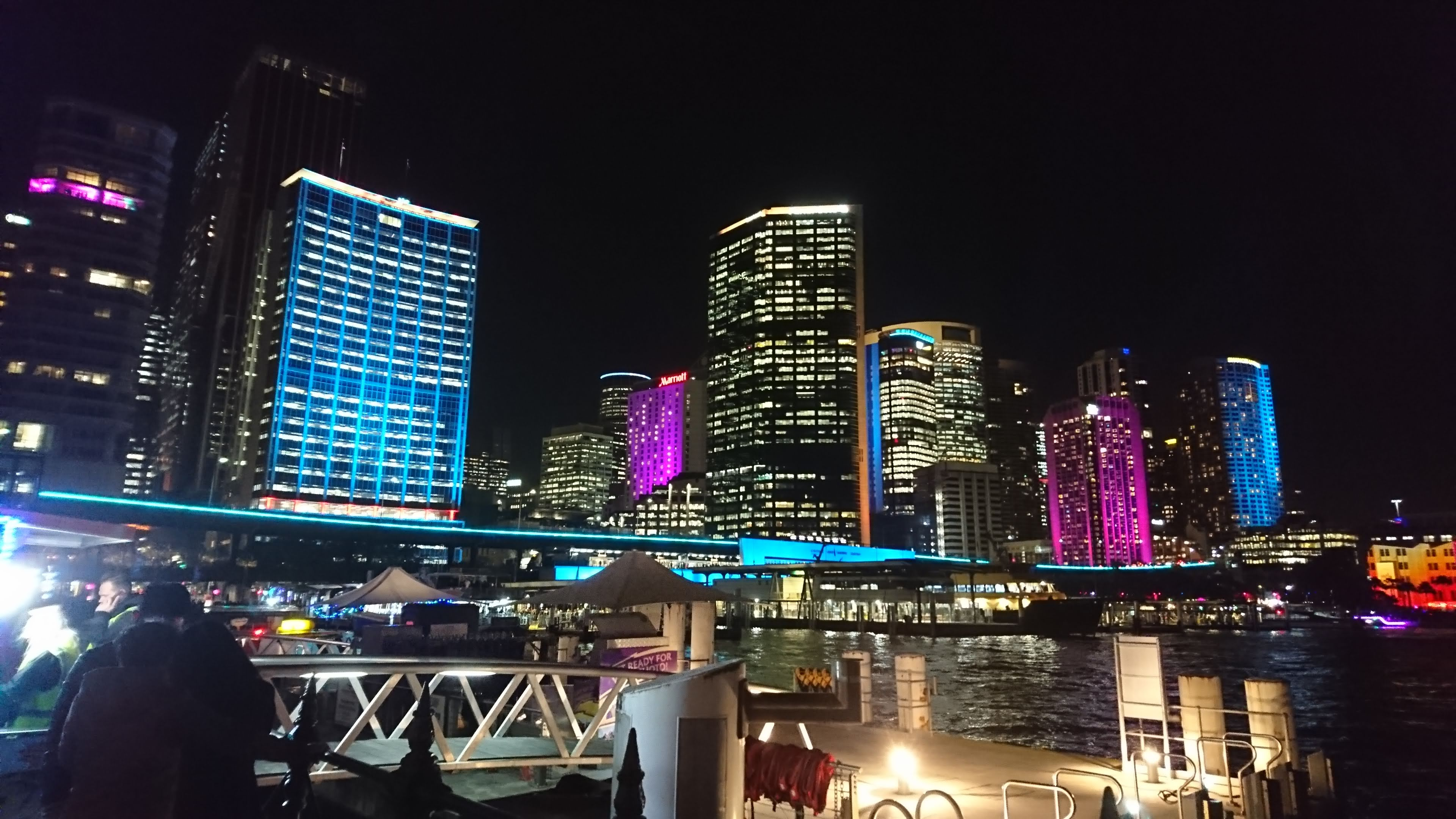 Sydney's skyline comes to life with it's huge display of lighting and laser beams