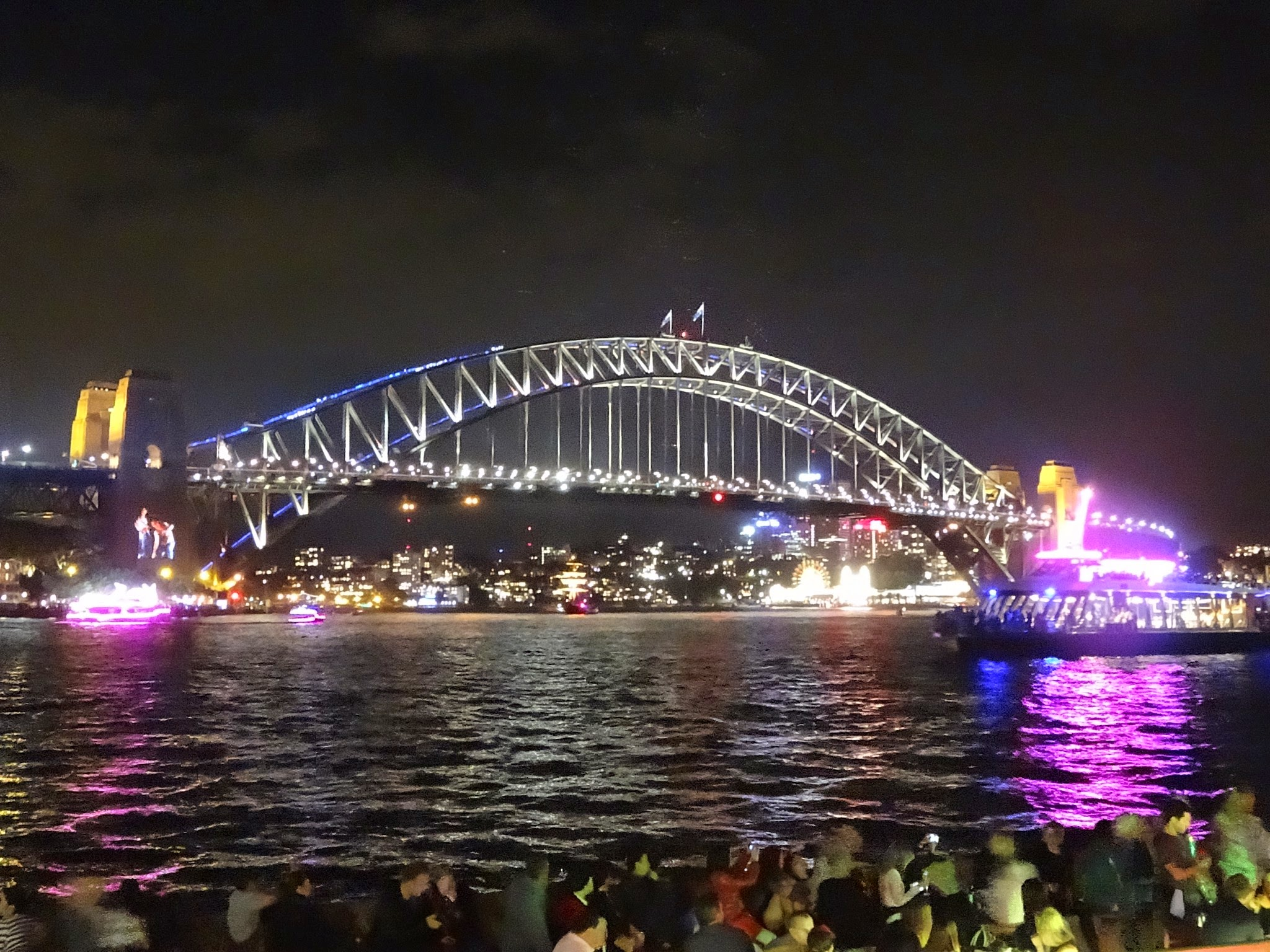 View of the Harbour Bridge during Vivid Sydney