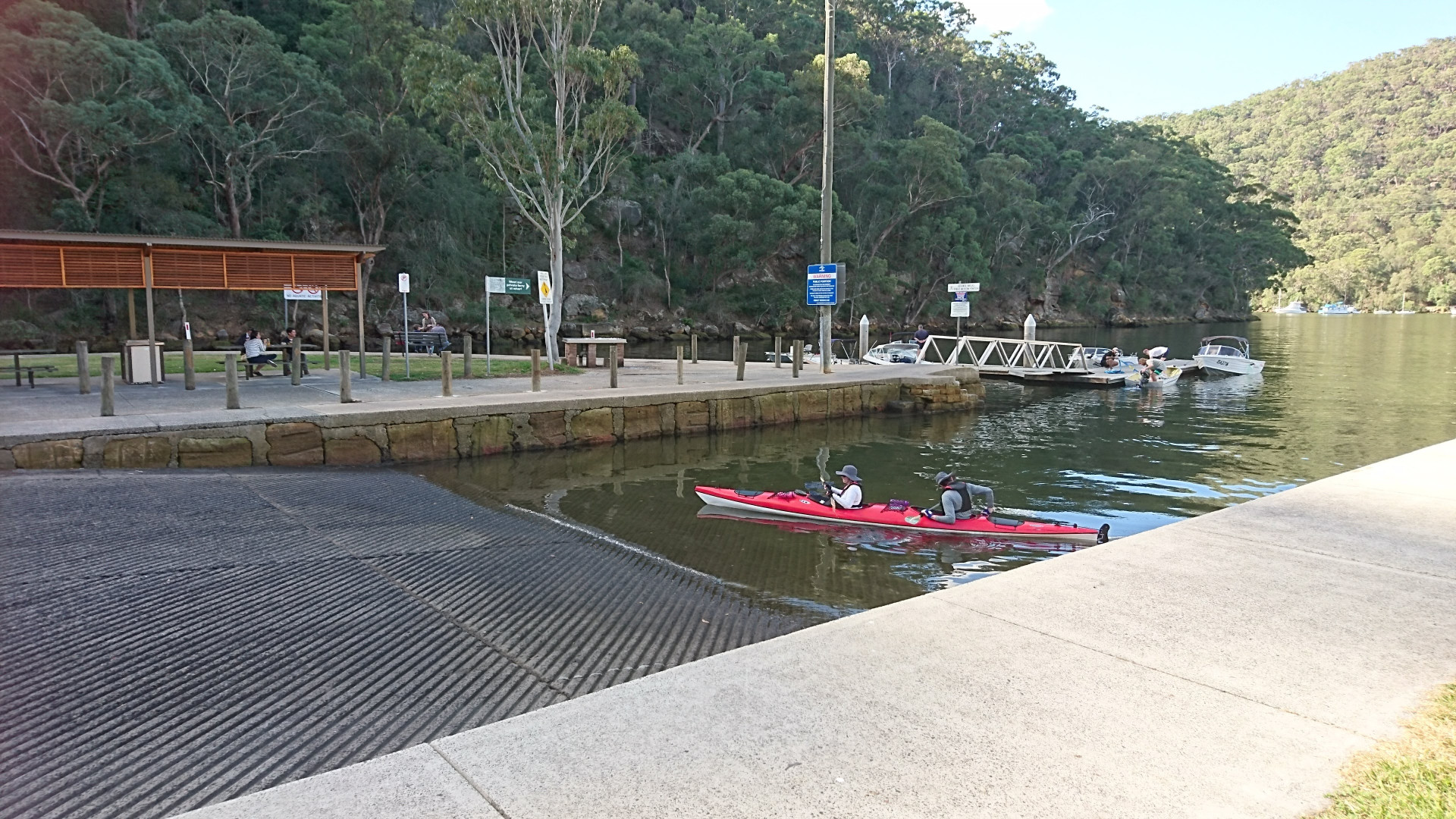Kayak coming out at the boat launching ramp