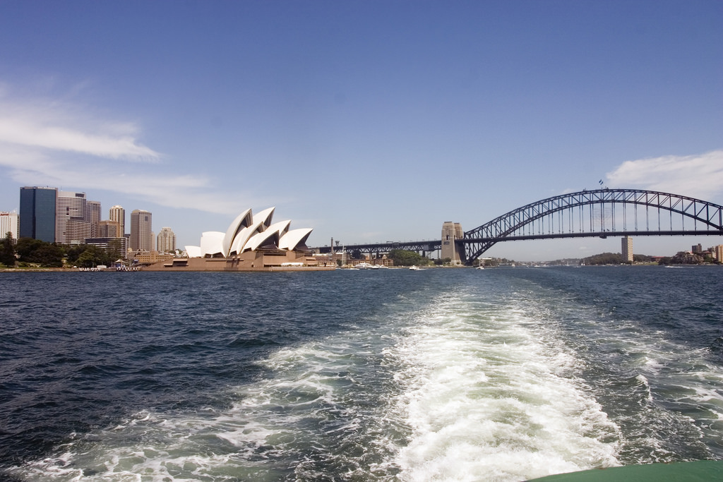 Views from the Manly Ferry of the iconic Harbour Bridge and Opera House