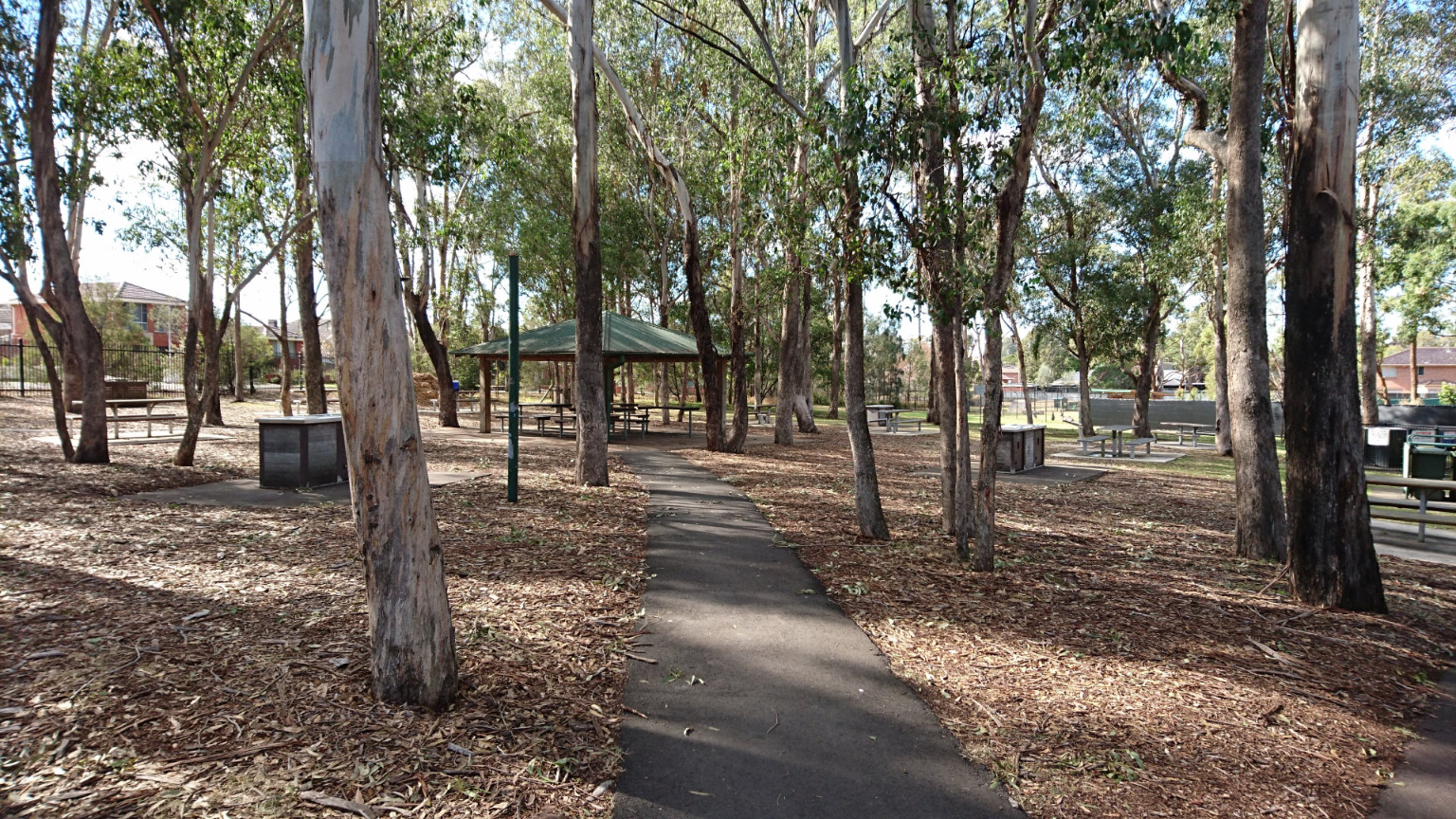 lots of shaded picnic tables and BBQ with toilet amenities close by