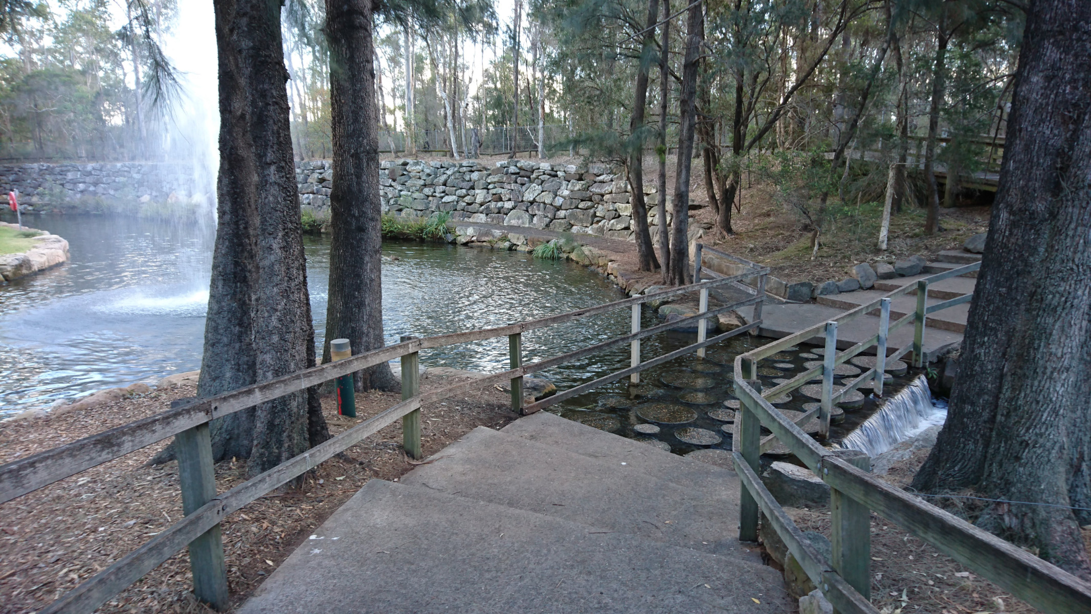 stepping stones to get across to the viewing platform area