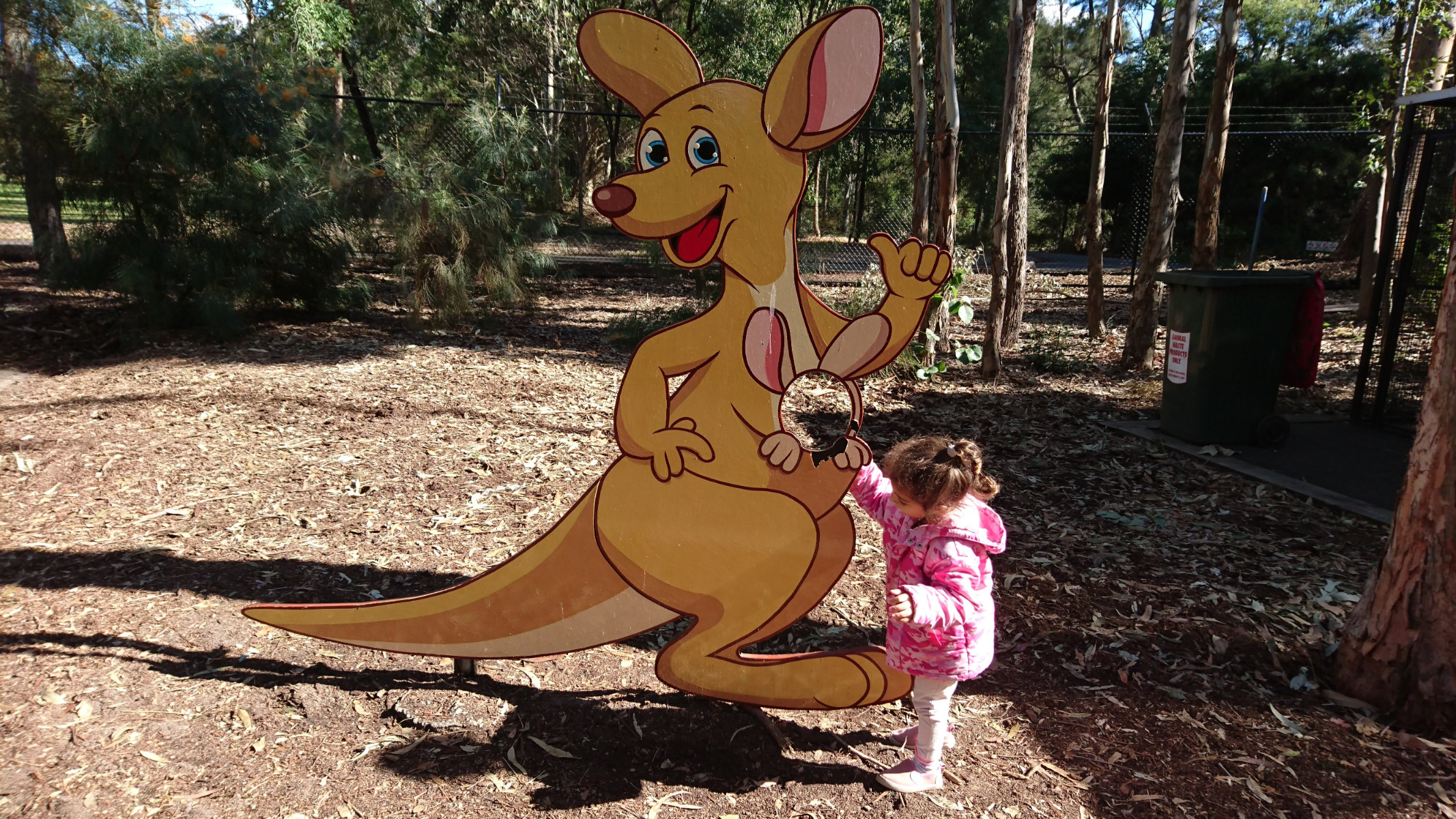 how cute is this! kangaroo photo booth next to the Bird Aviary
